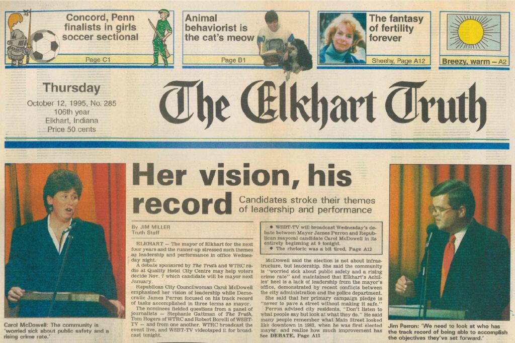 Elkhart Truth 1995 mayoral debate coverage