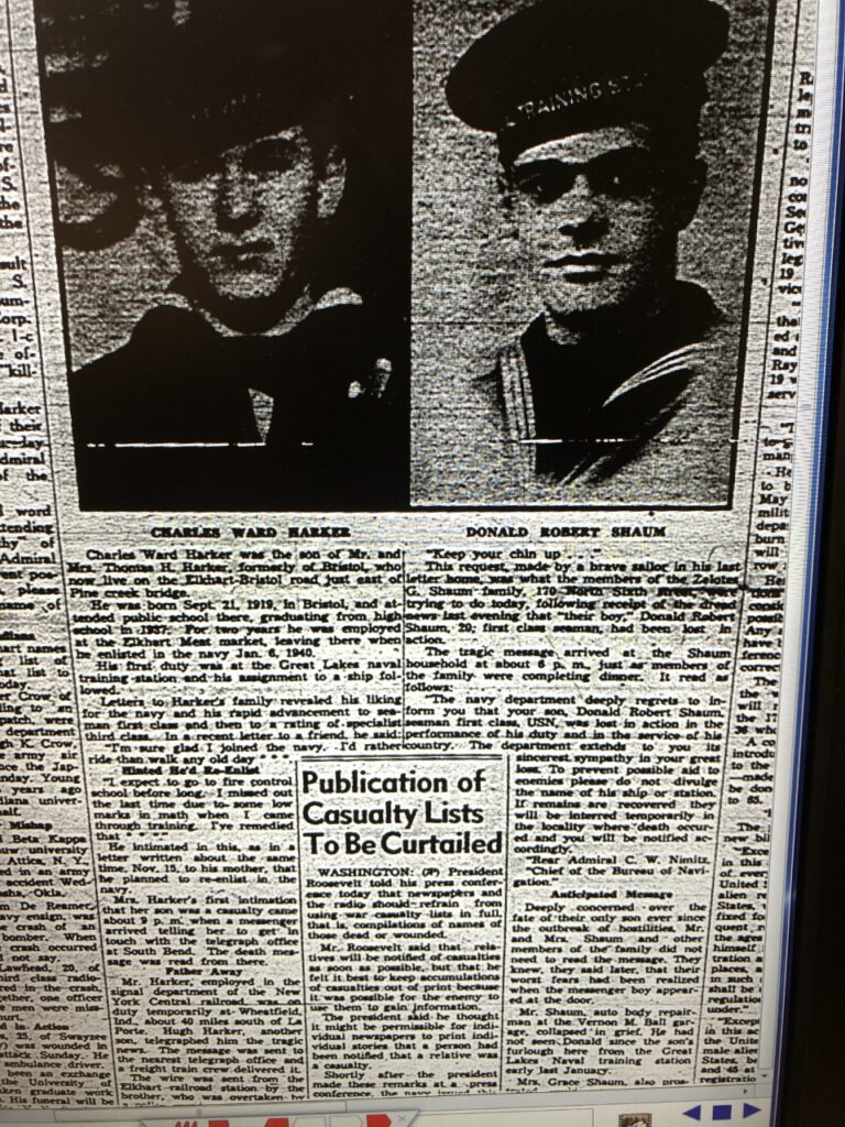 News of two more Elkhart soldiers among the dead at Pearl Harbor, Dec. 12, 1941