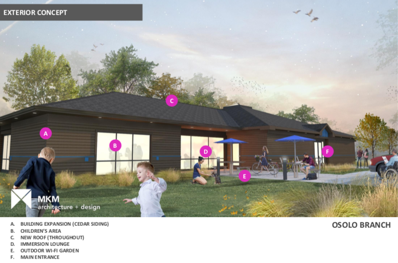 Proposed exterior view of the renovated Osolo Branch, part of the work to improve Elkhart libraries.