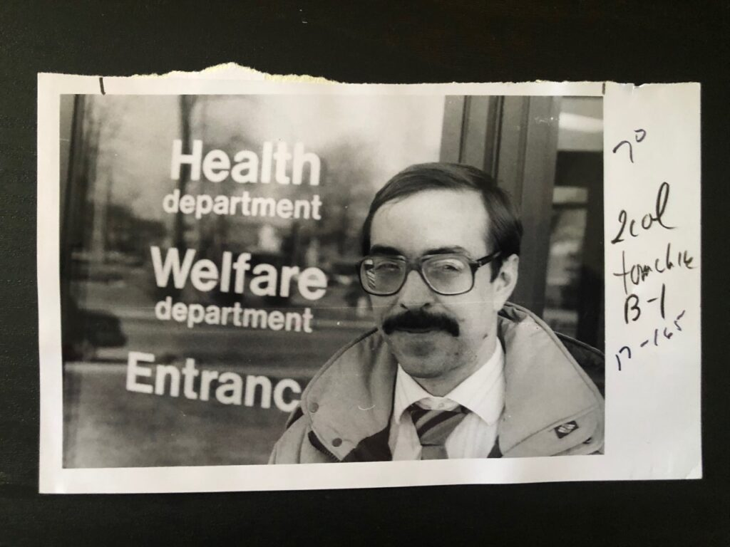 Dr. Robert S. Tomchik, outside the Elkhart County Administration Building in February 1989.