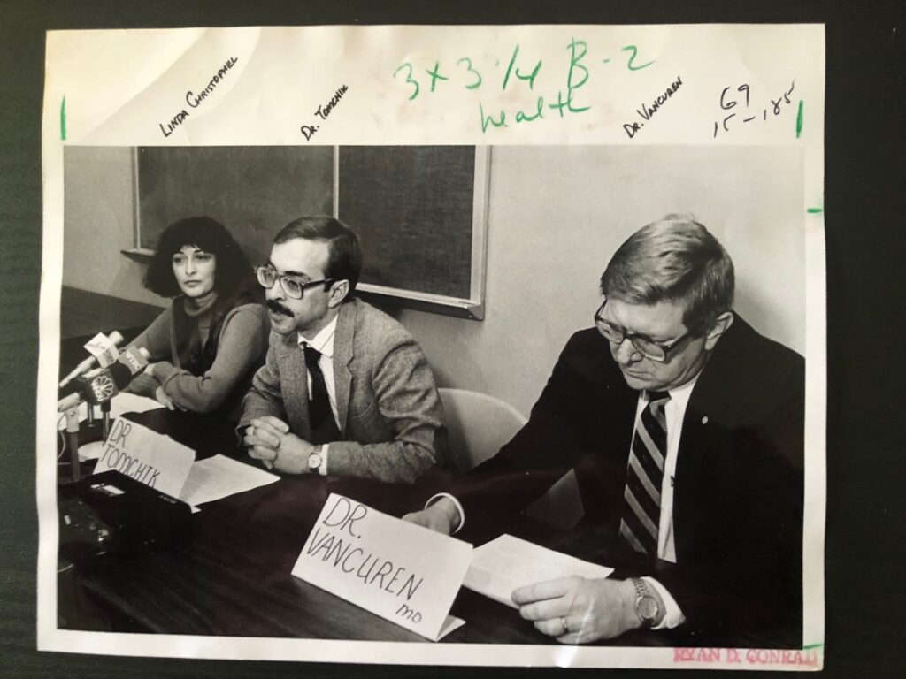 Appearing at an undated Elkhart County Health Department news conference are (from left) Linda Christophel of the Maternal-Child Health division, Dr. Robert Tomchik, and Dr. James VanCuren. Christophel later became one of the 70 or so employees who resigned during Tomchik's controversial tenure.