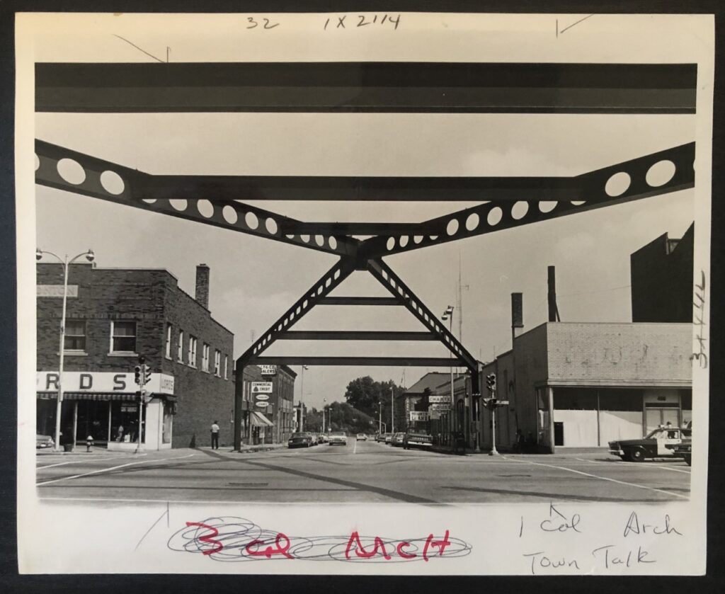 The view of the Arch from street level, looking east down Franklin. (Elkhart Truth photo)
