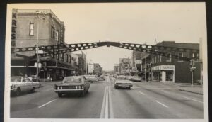 Traffic goes under downtown Elkhart's Arch