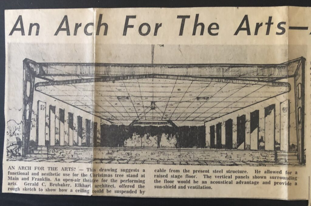 Gerald Brubaker's drawing of an open-air performing arts center.